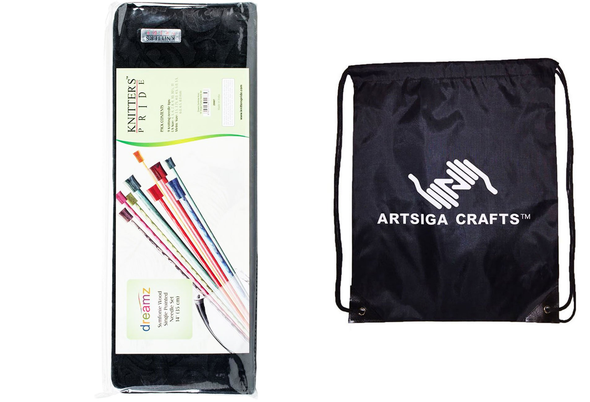 Knitter's Pride Knitting Needles Dreamz Single Pointed 14 inch (35cm) Set 2 of 9 Sizes Bundle with 1 Artsiga Crafts Project Bag 200607