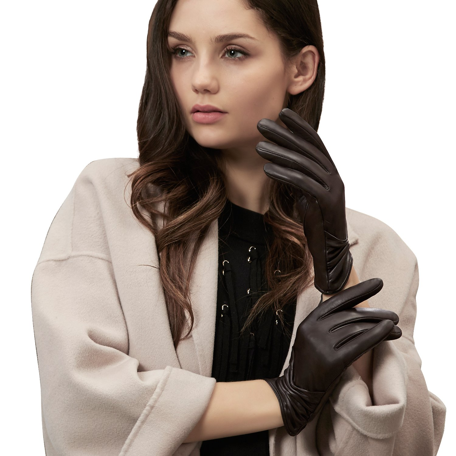 GSG Womens Driving Leather Gloves Ruched Fish Mouth Touchscreen Gloves Ladies Warm Winter Outdoor Brown 8
