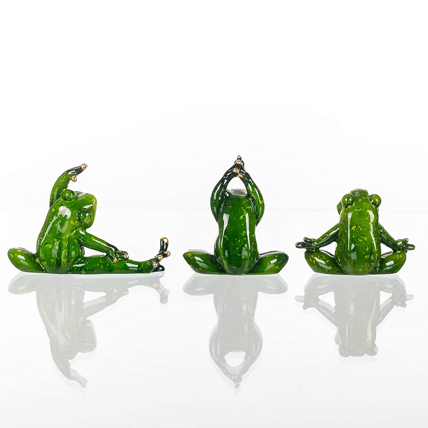 Transpac Enchanted Yoga Frogs Glossy Green 5 x 3 Resin Stone Figurines Set of 6