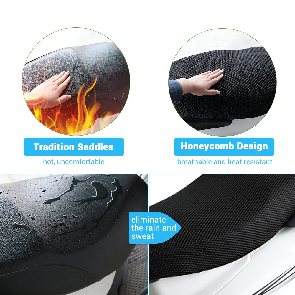 Betuy Heat Resistant Breathable Motorcycle Protection Seat Cover Anti-slip Resilient Mesh Scooter Cushion Seat Covers Bike Motorbike Chair Protector Mat Motorcycle Seat Cover