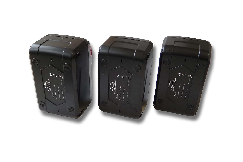 vhbw Sparset 3x Li-Ion Akku 4000mAh (28V) für Werkzeuge Milwaukee HD28 AG 125 Akku-Winkelschleifer etc. wie 48-11-1830, 48-11-2830, 48-11-2850.