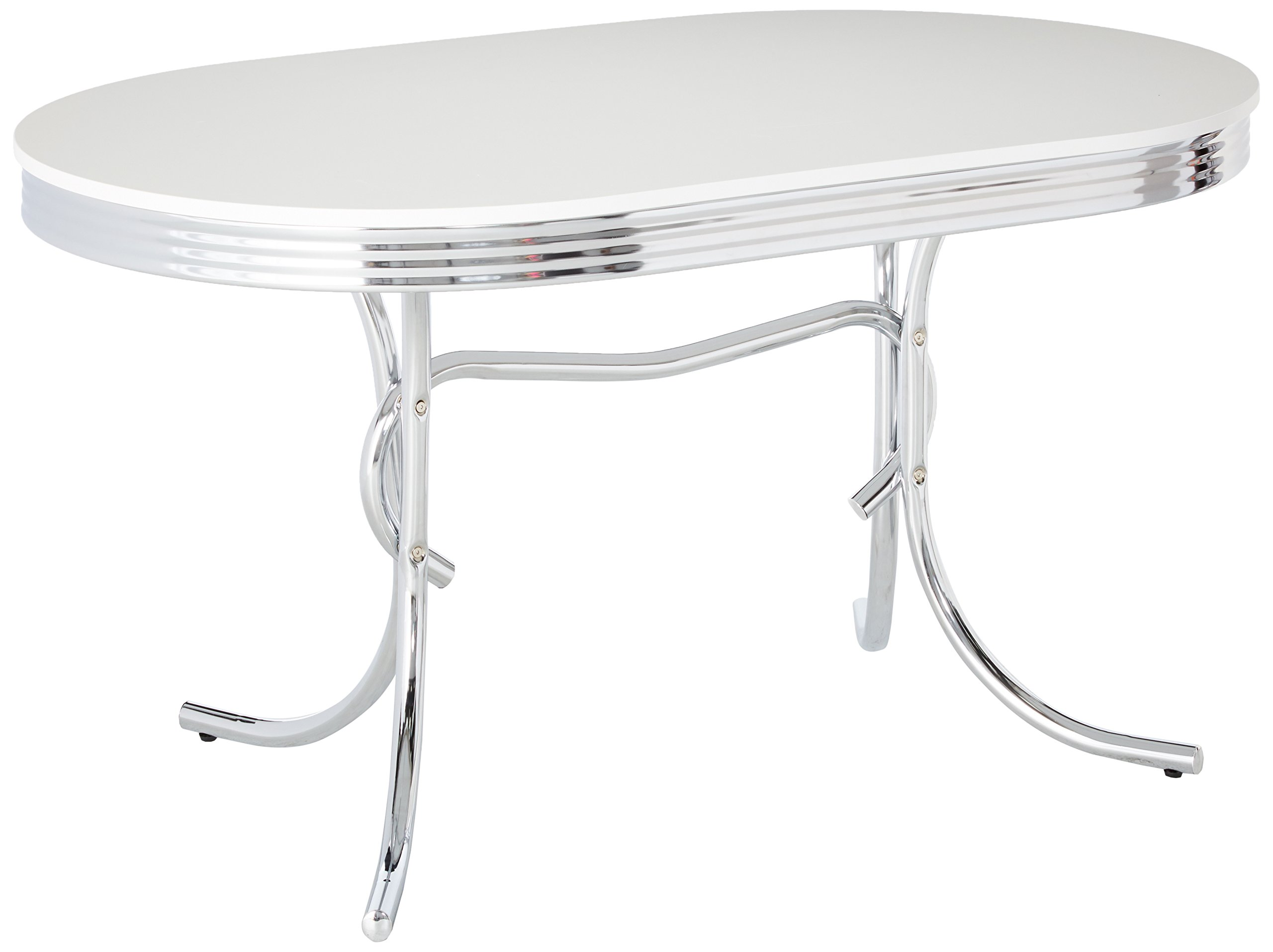 Retro Oval Dining Table White and Chrome by Coaster Home Furnishings