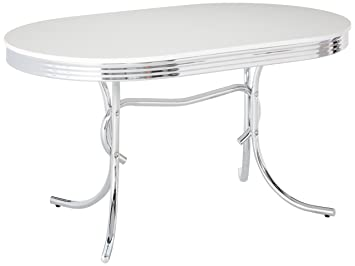 Magnificent Retro Oval Dining Table White And Chrome Creativecarmelina Interior Chair Design Creativecarmelinacom