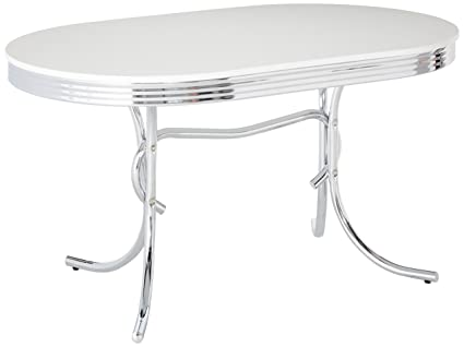 Nice Coaster 50u0027s Retro Nostalgic Style Oval Dining Table, Chrome Plated