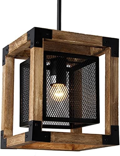 Mission 8.8 Wide Square Wood Metal Mini Pendant Rustic Dinning Kitchen Lamp Chandelier