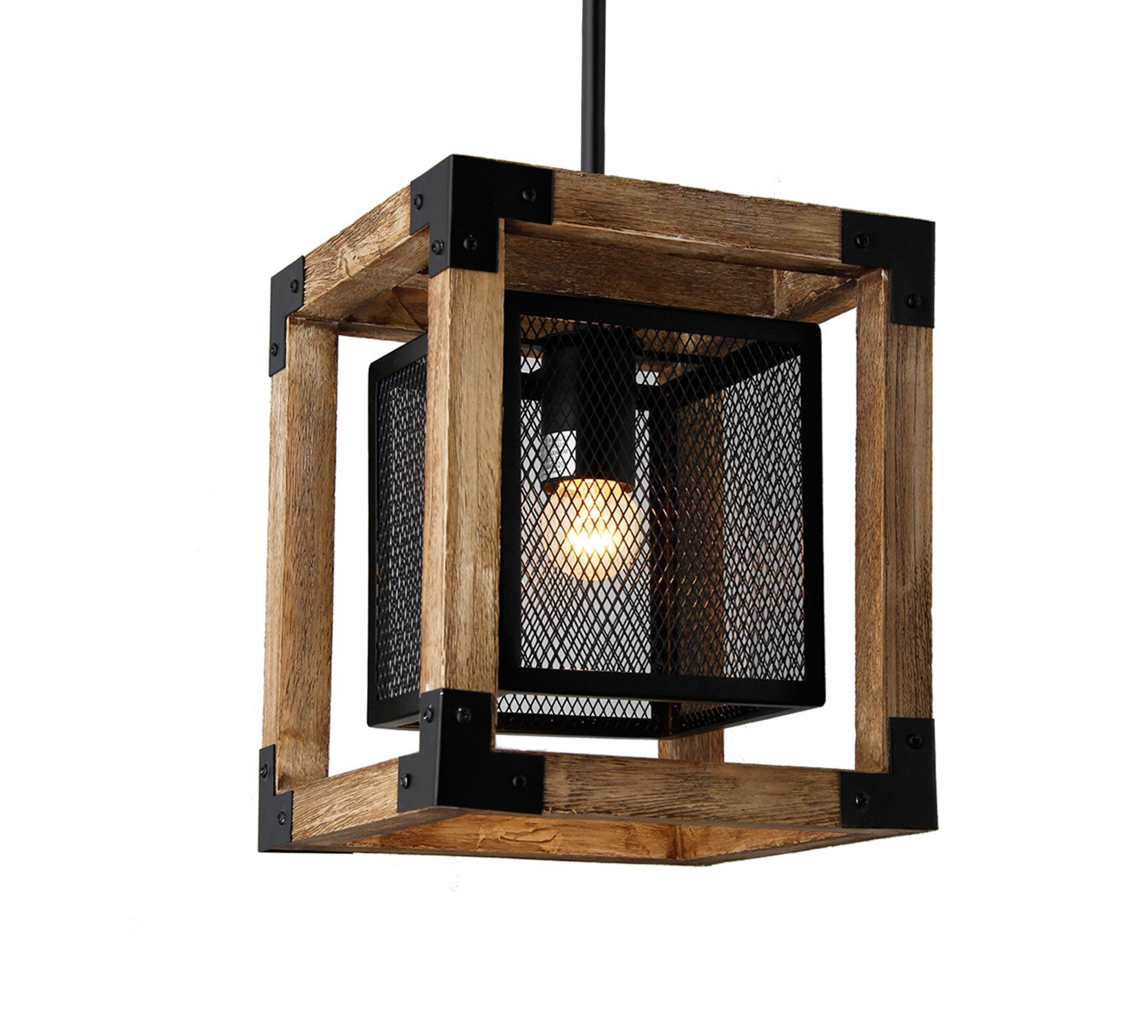 Mission 8.8'' Wide Square Wood Metal Mini Pendant Rustic Dinning Kitchen Lamp Chandelier