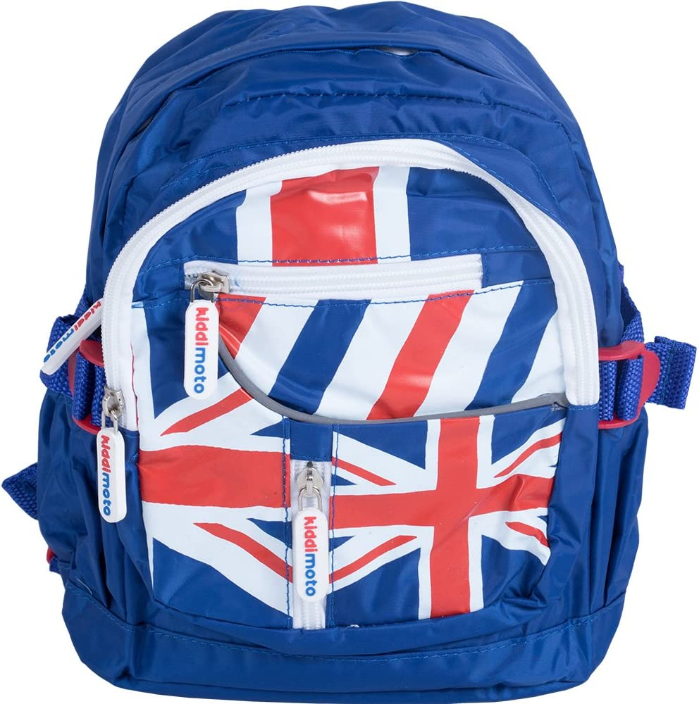 Book Bag for toddler Union Jack water bottle holder and multiple pockets Kiddimoto School Backpack kids with reflective safety strip