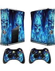 TQS™ Dise?ador etiqueta piel para la consola Xbox 360 Slim con dos calcoman¨ªas controlador inal¨¢mbrico- Skull of Blue Fire