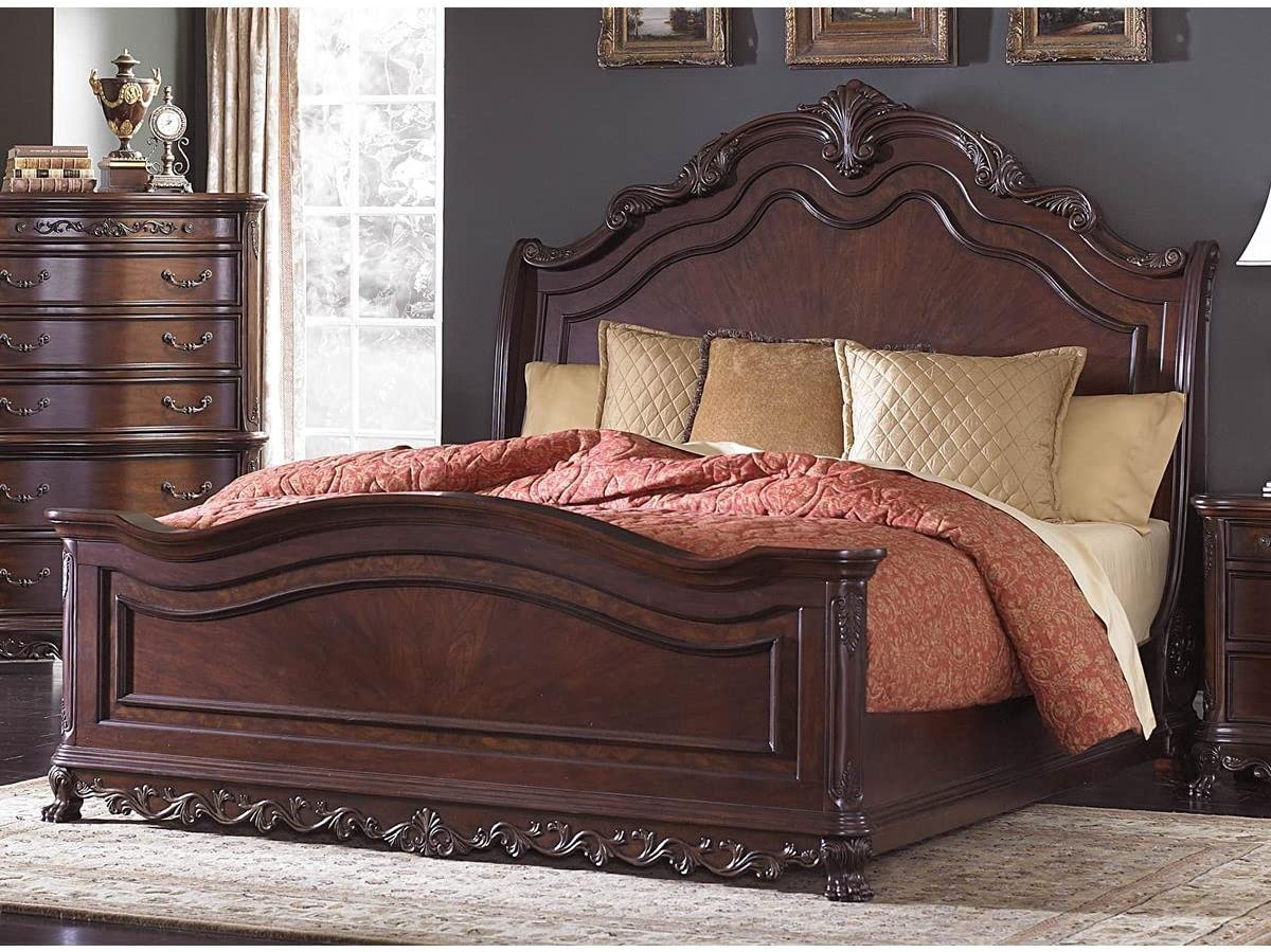 - Amazon.com: HEFX Dublin Queen Sleigh Bed In Cherry - Colonial