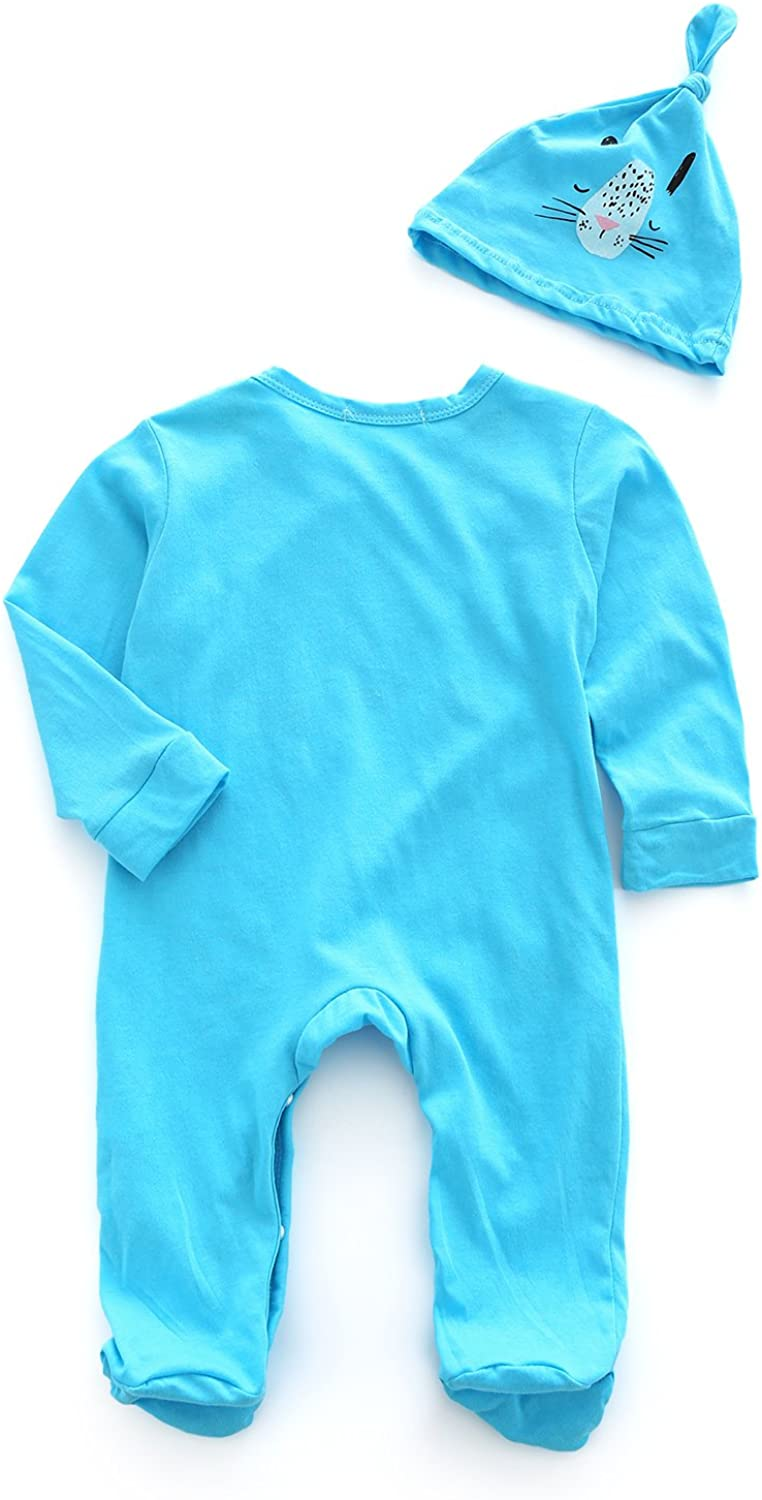 Kimocat Organic Baby Clothes Coverall Unisex Infant Cotton Rompers Footed Sleep and Hat Set