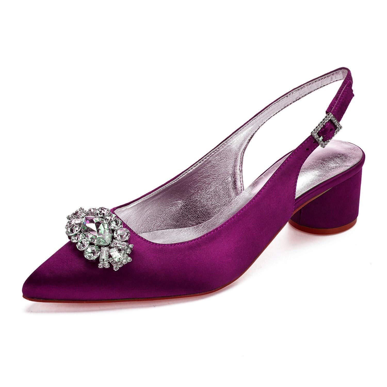 Zxstz Damenschuhe Satin Frühling Sommer Pumps Hochzeit Schuhe High Ferse High Schuhe Heel Point Toe Schuhe Strass Blaume Party 162f67