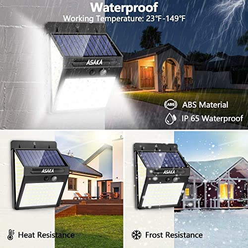 ASAKA 140 LED 3 Optional Modes Solar Lights Outdoor, Super Bright IP 65 Wireless Waterproof Outdoor Motion Sensor Lights Security Garden Lights with Wide Angle for Step Patio Garden Pack of 4