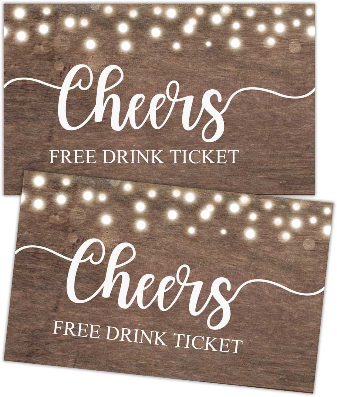 50 Free Drink Tickets, Cheers Tickets, Rustic Drink Ticket Coupons for a Free Drink at Weddings, Work Events or Party, Drink Tickets for Events, Free Drink Tickets for Soft Drink or Food Vouchers.