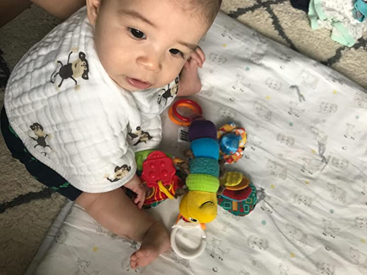 Lamaze Freddie The Firefly and is easy for him to grasp