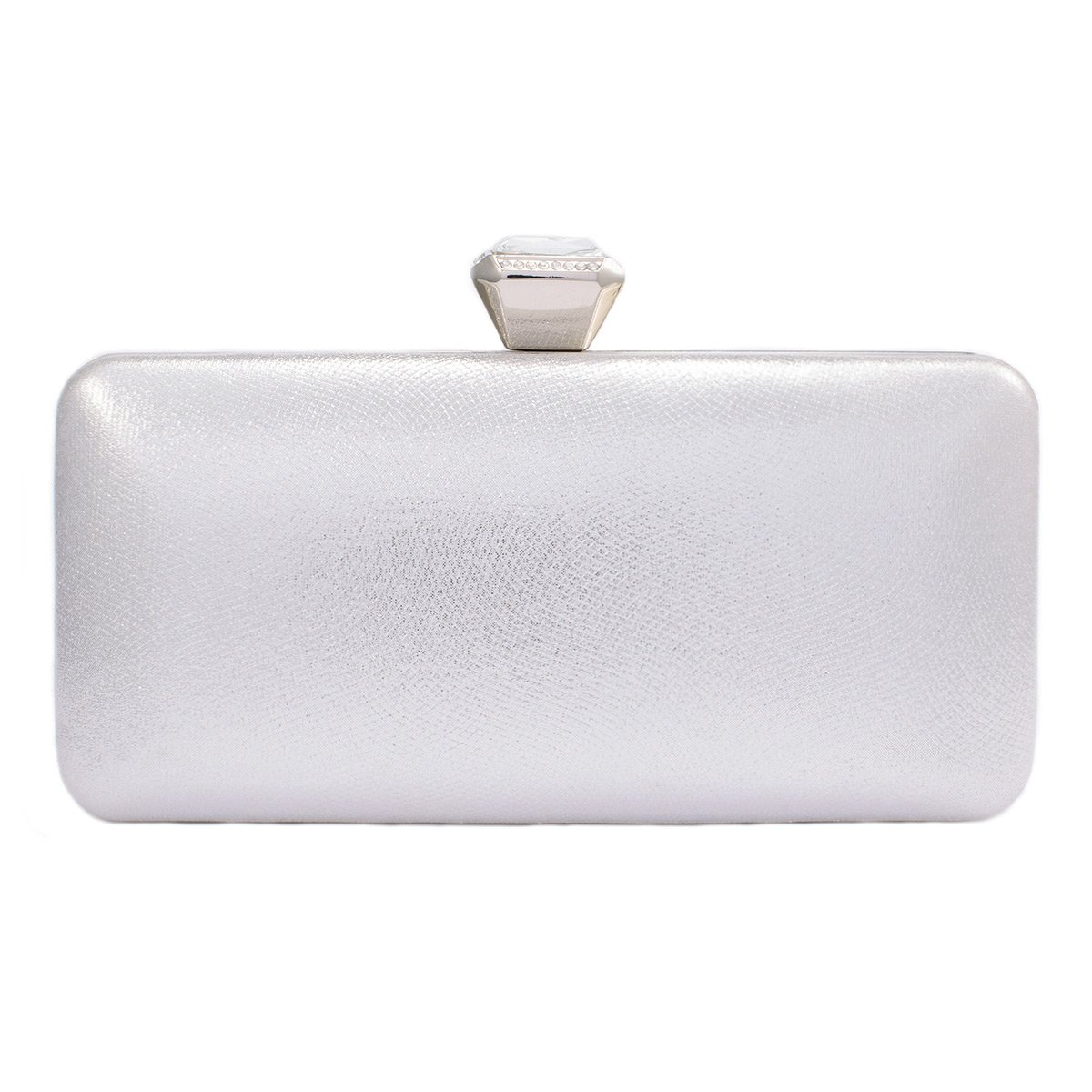 Darama Womens Exquisite Hardcase Top Clasp Wedding Clutch Bags,Silver