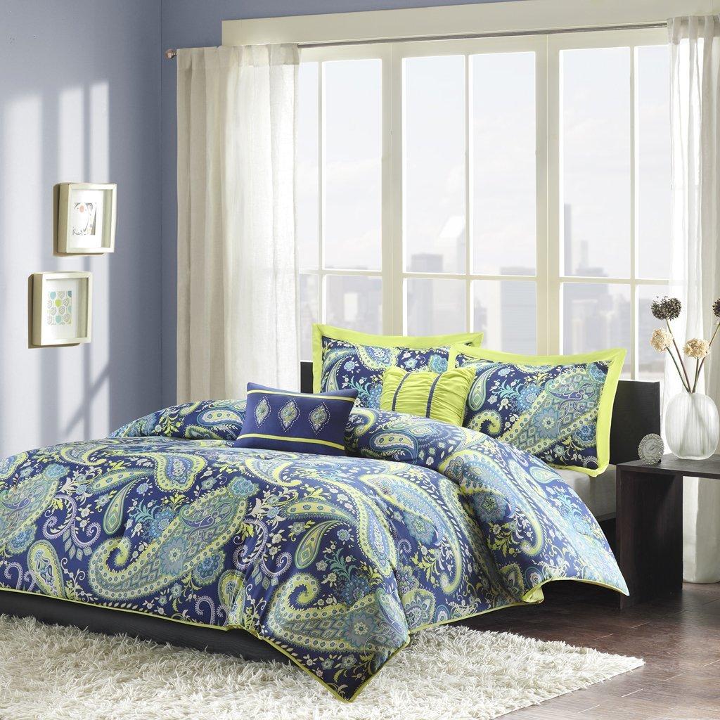 5 Piece Bed Sets Blue Green Peach Skin Microfiber Teen Bedding for Girls Bedroom JLA Home ID10-236 Intelligent Design Melissa Comforter Set Full//Queen Size Paisley