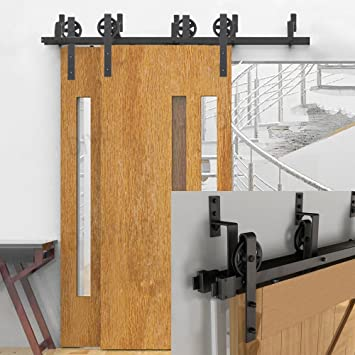 Amazon Hahaemall Rustic 6ft Bypass Sliding Barn Door Hardware
