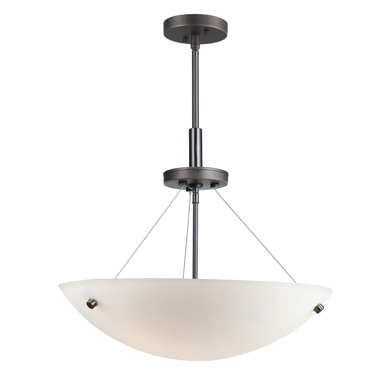 Woodbridge Lighting 13620MEB-C51801 3-Light Dish Pendant 17-1//2-Inch by 51-1//2-Inch Maximum Metallic Bronze