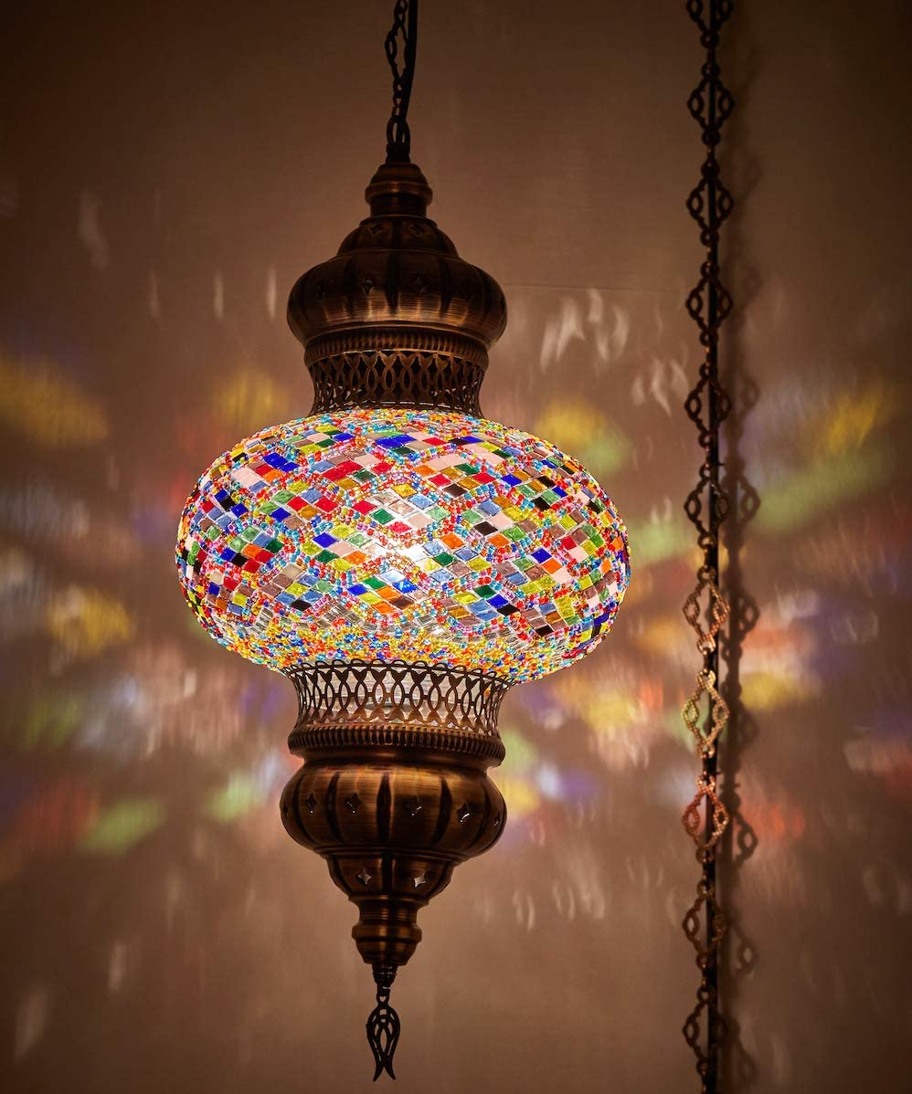 8 Colors DEMMEX – Wall PlugIn XL Light – Turkish Moroccan Mosaic PLUGIN Ceiling Hanging Tiffany Pendant Light Fixture Lamp with 15 feet Chain Cord US Plug – NO HARDWIRING Anatolian Rug