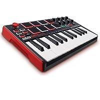 Akai Professional MPK Mini MKII   25-Key Portable USB MIDI Keyboard With 8 Backlit Performance Pads, 8-Assignable Q-Link Knobs & A 4-Way Thumbstick