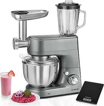 Bomann KM 1373 CB - Robot de Cocina multifunción con batidora amasadora, picadora de Carne, batidora Vaso, Pasta, 1000w + báscula Cocina: Amazon.es: Hogar