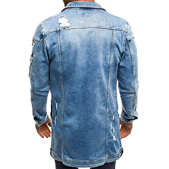 iYBUIA Mens Autumn Winter Casual Vintage Wash Distressed Denim Jacket Coat Top Blouse at Amazon Mens Clothing store: