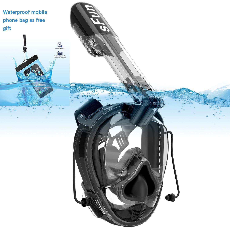 SFUN Maschera Subacquea, Occhiali da Immersione Che Permettono Una Facile respirazione, Maschera da Snorkeling con Funzione di stabilizzazione della Pressione dell'orecchio