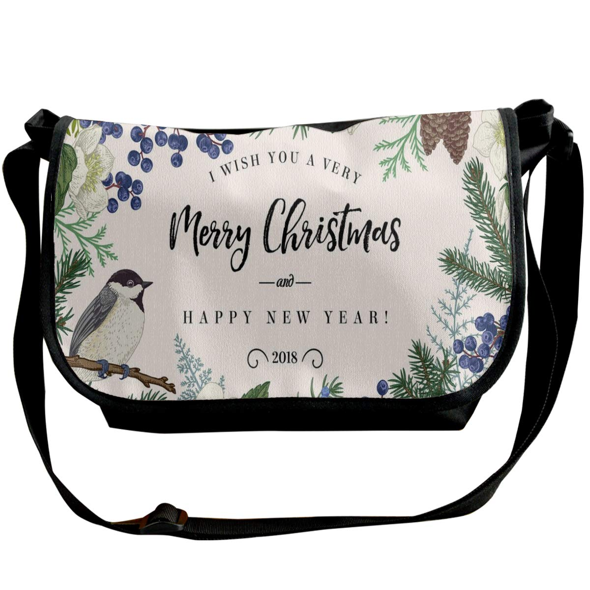 Taslilye Christmas Card With Bird Vector Image Customized Wide Crossbody Shoulder Bag For Men And Women For Daily Work Or Travel
