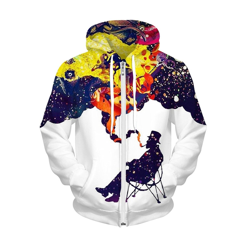 Men's Long Sleeve 3D Digital Print Lover's Design Sports Fleece Zipper Hoodies