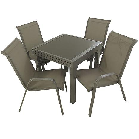 Conjunto para jardín Mesa Extensible 80/160 y 4 sillones apilables Respaldo 96 cm, Aluminio Color Gris y Cristal Gran Grosor Color taupé, 4 plazas