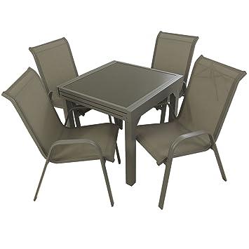Conjunto para jardín Mesa Extensible 80/160 y 4 sillones ...
