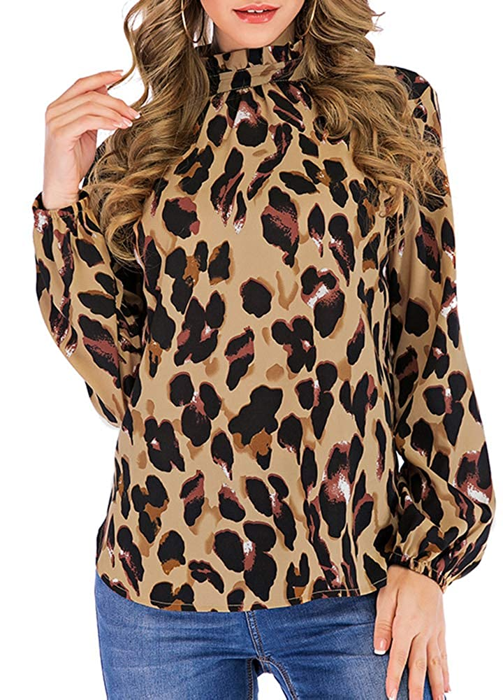 91ee5d9363600f Romacci Women Leopard Print Blouse Shirts Ruffles Stand Collar Turtleneck  Long Sleeves Vintage Casual Tops at Amazon Women's Clothing store: