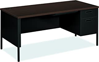 """product image for HON Metro Classic Black Finish Laminate Right Pedestal Desk with 1 Box/1 File Drawers, 66""""W, Mocha"""