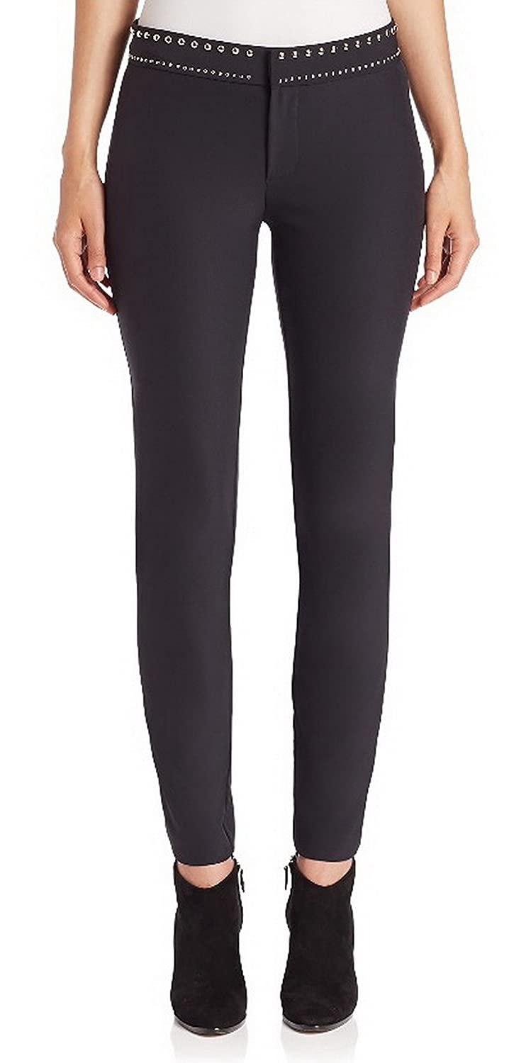 REBECCA TAYLOR Womens Stud Waist Accent Skinny TECHY Pant Black 220645(A)E