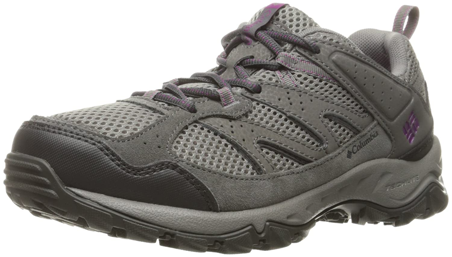 Columbia Women's Plains Ridge WMNS Low Hiking Shoes B0183PFHY2 6 B(M) US|Light Grey/Intense Violet