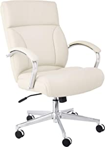 AmazonBasics Modern LeatherSoft Executive Chair, 300lbs Capacity with Oversized Seat Cushion, Ivory