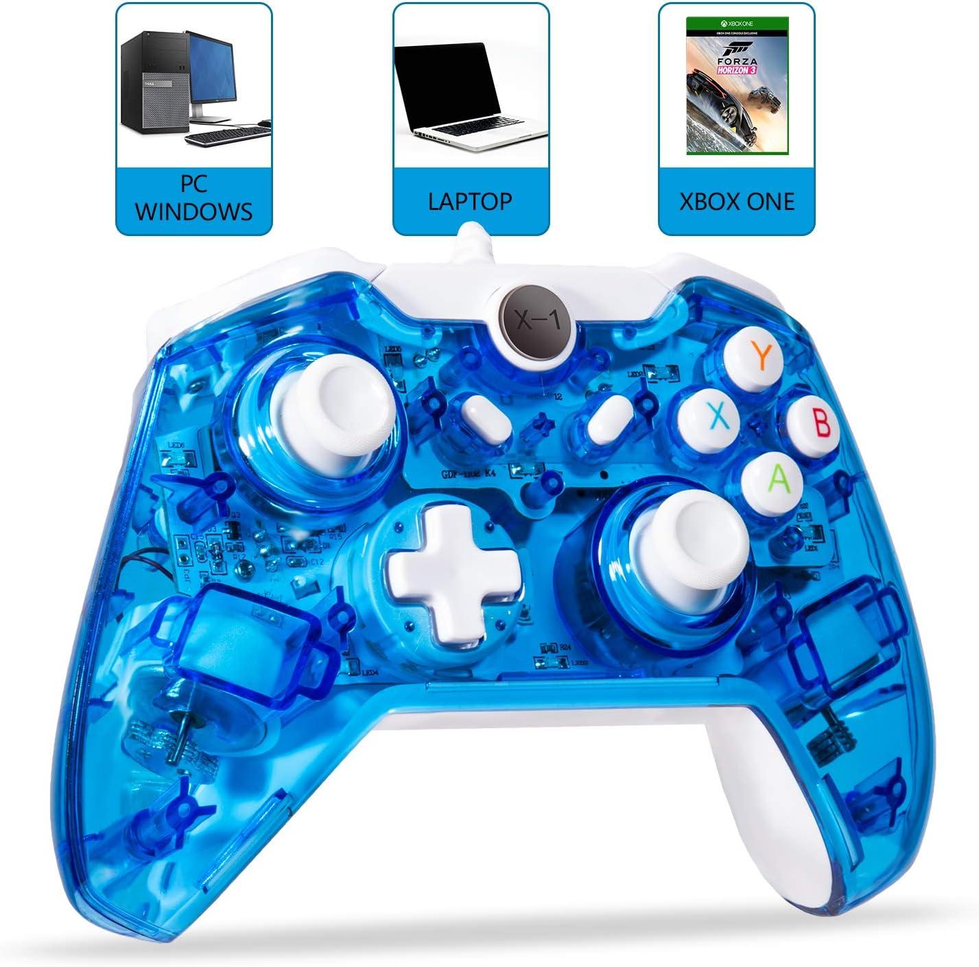 LUXMO - Palanca de Mando con Cable para Xbox One/One S y PC Windows USB Plug and Play Gamepad con Doble vibración, Color Azul: Amazon.es: Electrónica