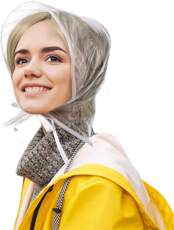 12 Piece Rain Bonnet with Visor Waterproof Clear Bonnet for Women Lady Rain Wear (White) at  Women's Clothing store