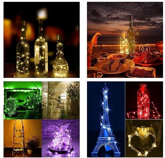 3 Paquetes de Luces de Botella Luces en Forma de Corcho con 20 LEDs Micro para Fiesta Cumpleaños Boda Decoración de Mesa de Hogar Azul 100cm (3 pilas de ...