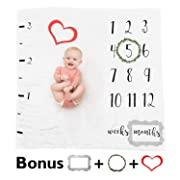 Baby Milestone Blanket - Baby Monthly Milestone Blanket For Boy / Girl | Newborn Photography Props Frames Included | No Ironing | Premium Gender Neutral Unisex Age Backdrop - By Buttercup Blanket