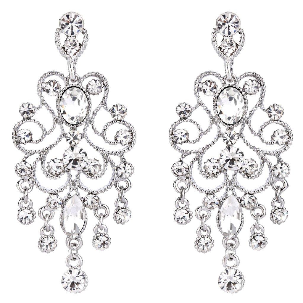 BriLove Silver-Tone Dangle Earrings Women's Vintage Style Bridal Crystal Drop Hollow Filigree Chandelier Earrings Clear