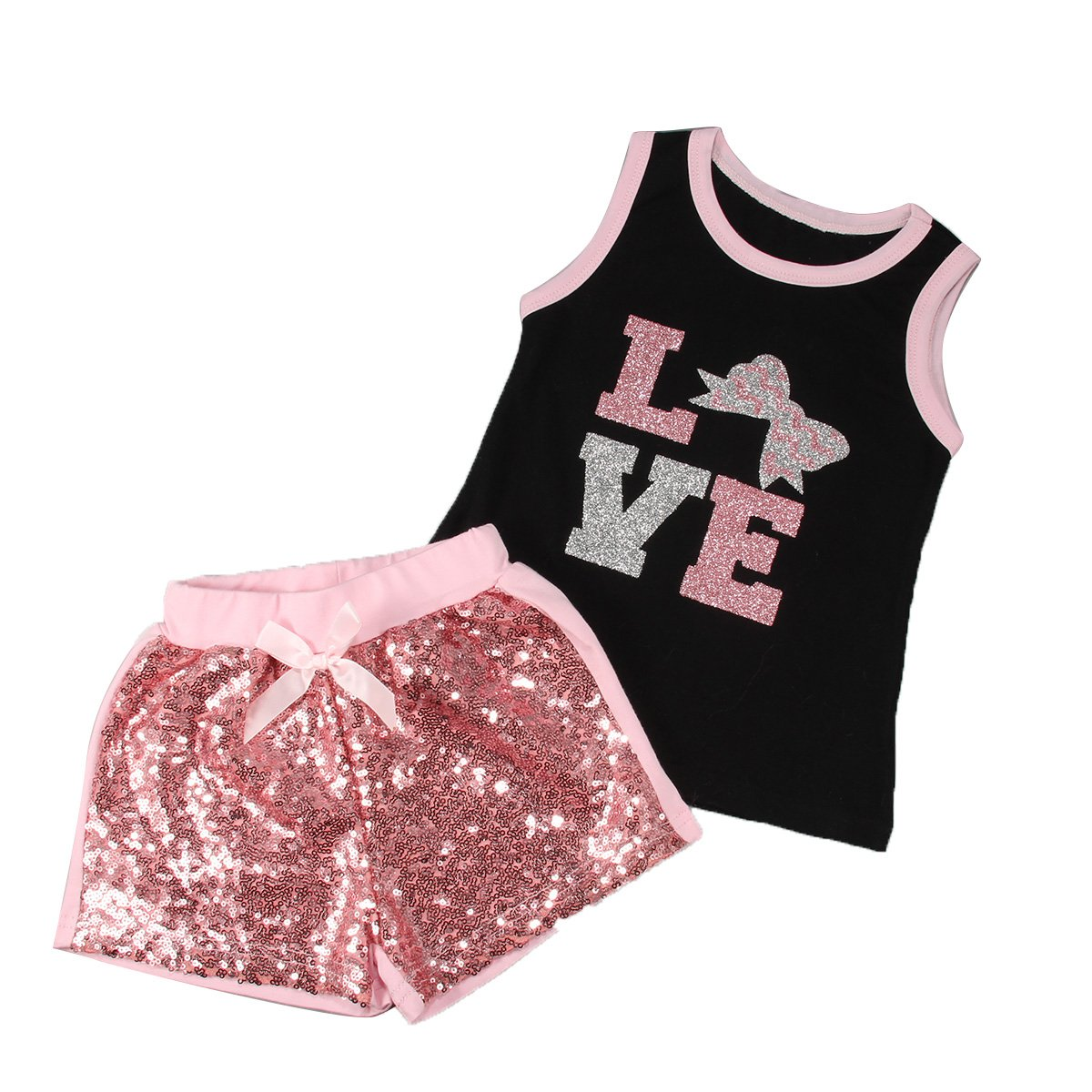 Puseky Toddler Kids Baby Girl Blinking T-shirt Tops+Sequin Shorts Outfit Clothes (5~6 Year)