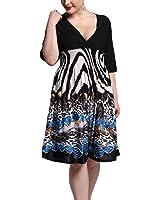 SuperLouisa Fashion V vestido sexy impresso elegante grandes vestidos do tamanho das mulheres férias de verão
