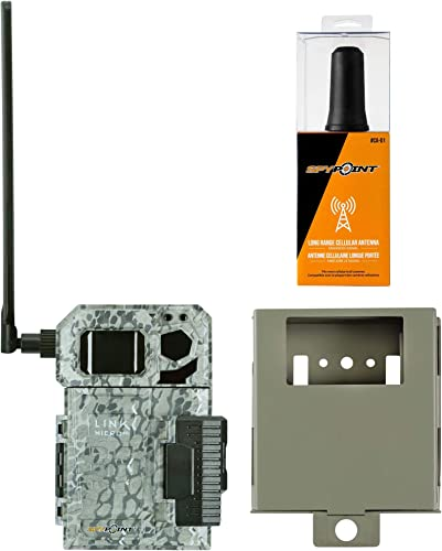 Spypoint Link Micro 4G Cellular Trail Camera with CA-01 Long Range Antenna and Steel Security Box AT T USA Nationwide