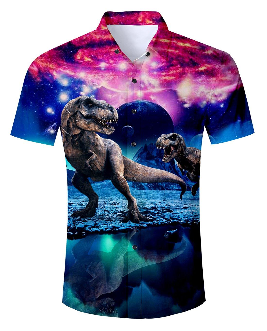 Uideazone Teen Boys 3D Printed Galaxy Dinosaur Short Sleeve Shirts Casual Tee Shirt by Uideazone