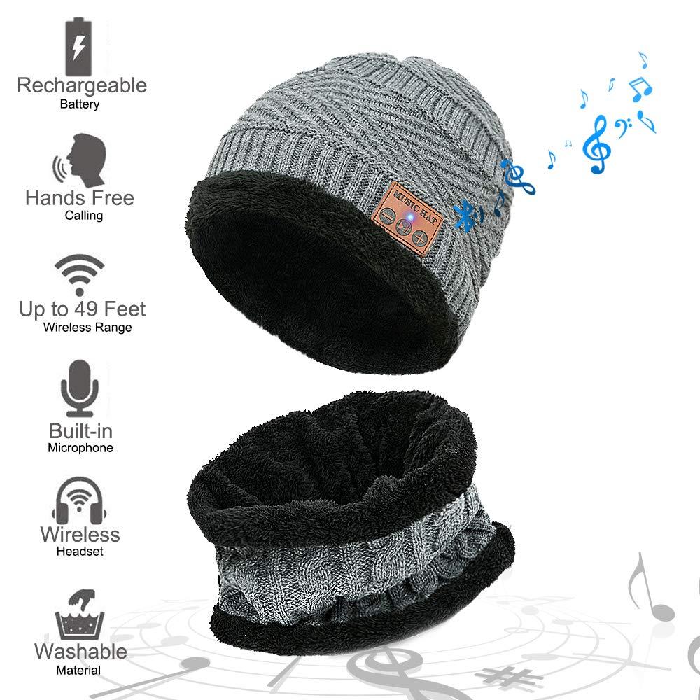 MEETYOO Bonnet Bluetooth, Casquette Hiver Ensemble Bonnets écharpe Chapeau  avec Haut-Parleur stéréo pour 5a0c580dc12