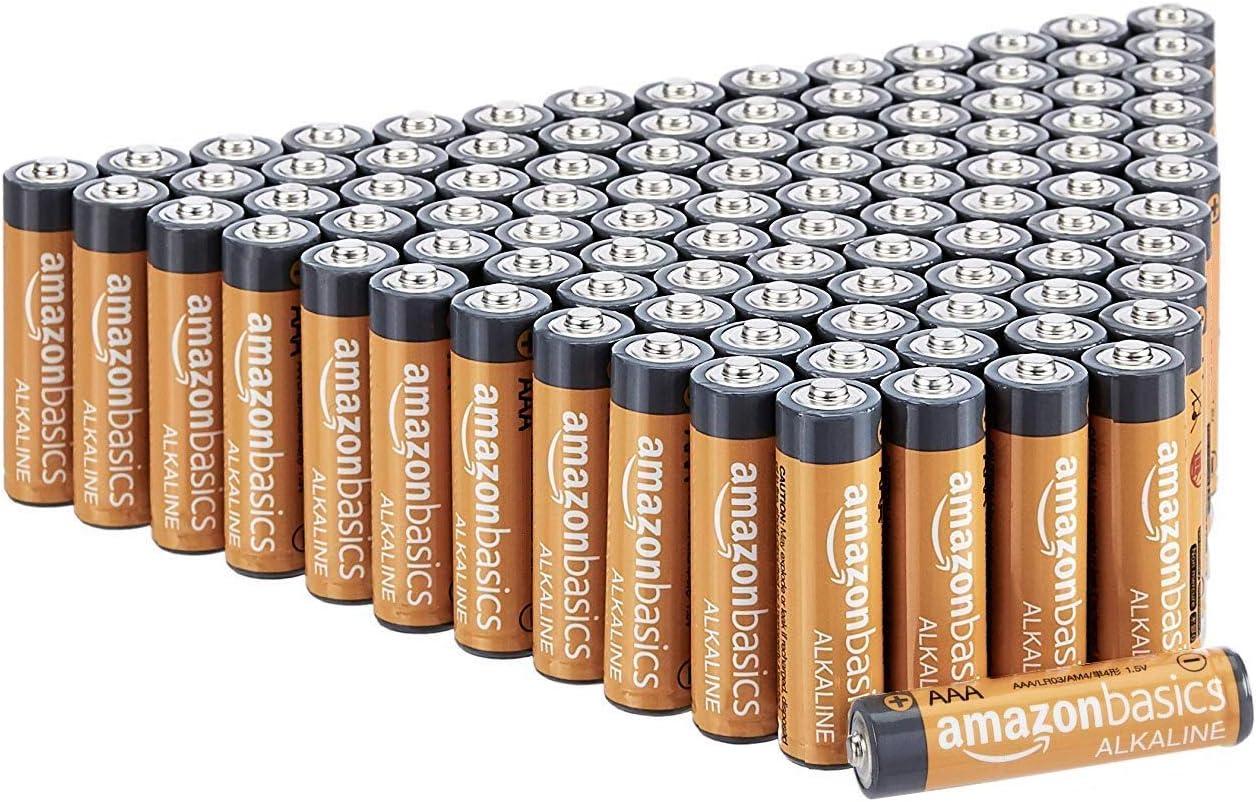 AmazonBasics - Pilas alcalinas AAA de 1,5 voltios, gama Performance, paquete de 100 (el aspecto puede variar)