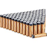 Amazon Basics 100 Pack AAA High-Performance Alkaline Batteries, 10-Year Shelf Life, Easy to Open Value Pack