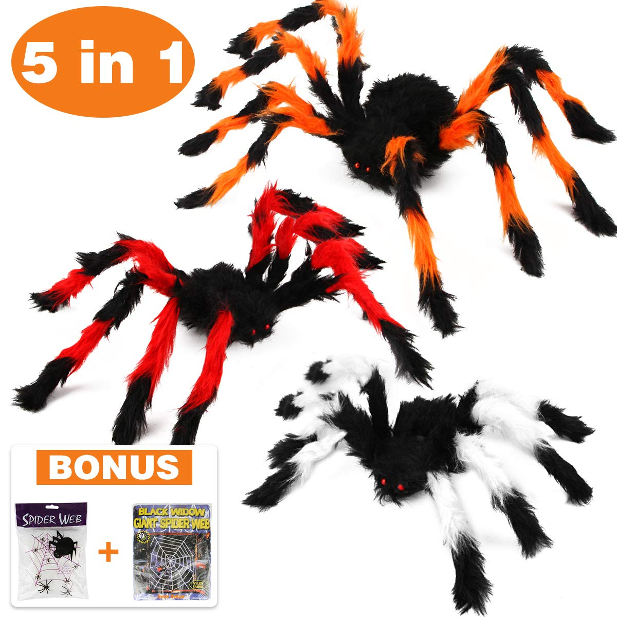 Aitbay Halloween Spider Decorations, Halloween Scary Hairy Spider Web Set, 3 Pack Fake Colorful Spider, Halloween Spider Web, Cobwebs Props for Indoor, Outdoor and Yard Creepy Decor by Aitbay