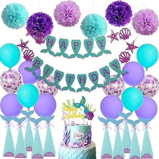 Decoraciones de cumpleaños para sirenas Artículos de fiesta ...